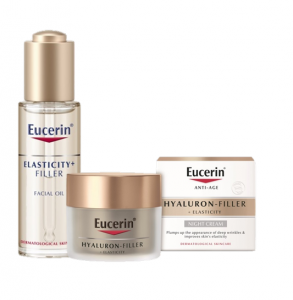 Eucerin Elasticity + Filler Facial Oil and Eucerin Hyaluron-Filler + Elasticity Night Cream